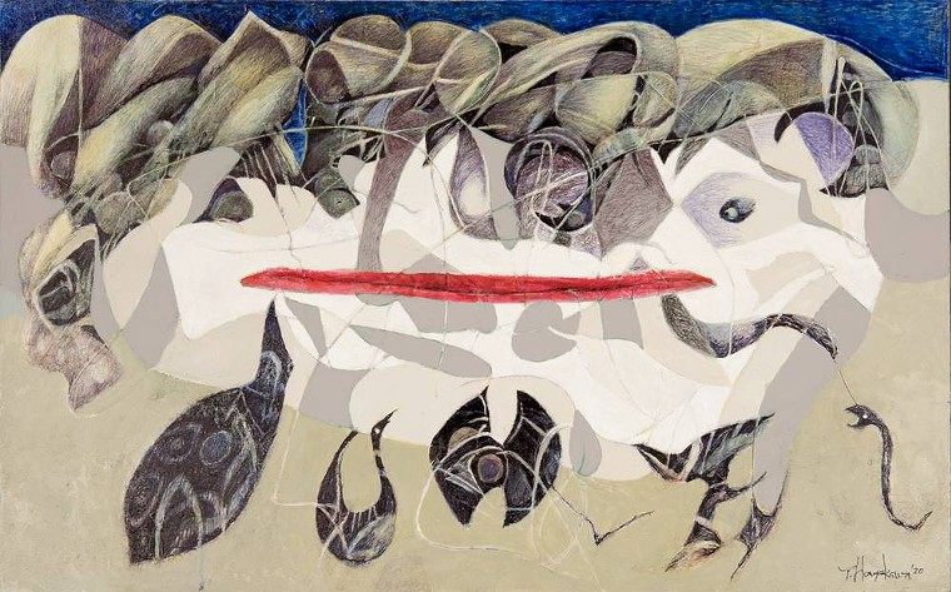 "Tadashi Hayakawa, ""Coexistence,"" 2021, mixed media on canvas. - TADASHI HAYAKAWA"