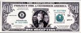 """A 9/11 """"deception dollar"""" designed by festival founder Carol Brouillet."""