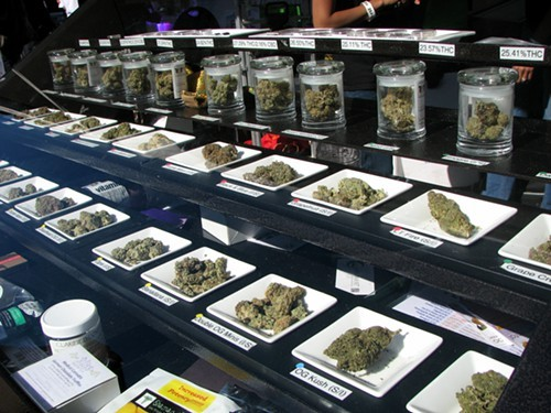 A cannabis dispensary display case