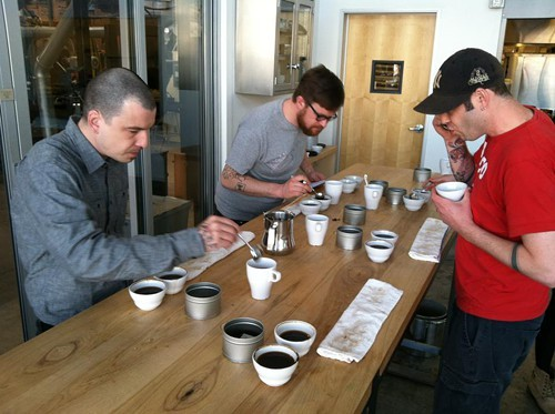 A coffee cupping at Blue Bottle.