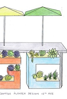 A drawing of Lim's letterbox planters.