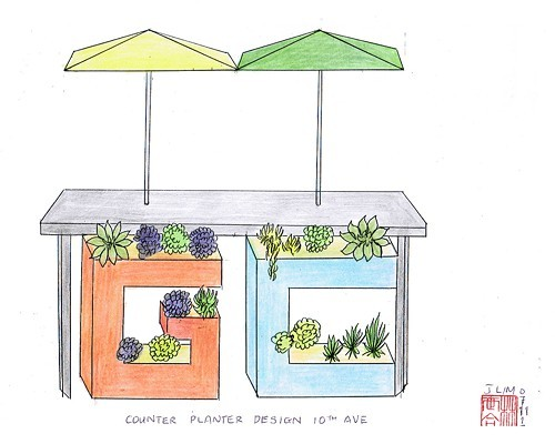 A drawing of Lims letterbox planters.