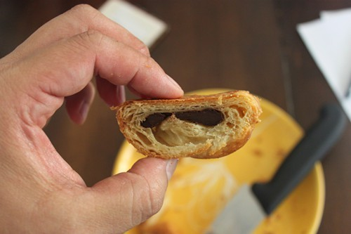A peek inside Barkadas chocolate croissant.