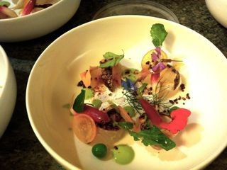 A picture of things to come at Shakewell: Wild snapper, sweet peas, baby radish, flowers