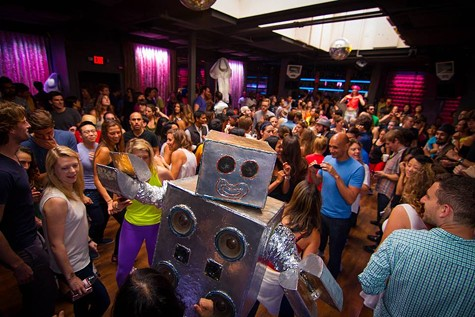 A robot dance party at the last Daybreaker SF