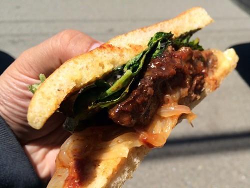 A saucy sandwich.