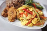 CHRIS DUFFEY - Ackee and cod with plantains.