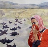Alison OK Frost looks at social ills almost covertly in her watercolors.