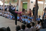 Ariane Michad performing in Cartago, Costa Rica at an elementary school.