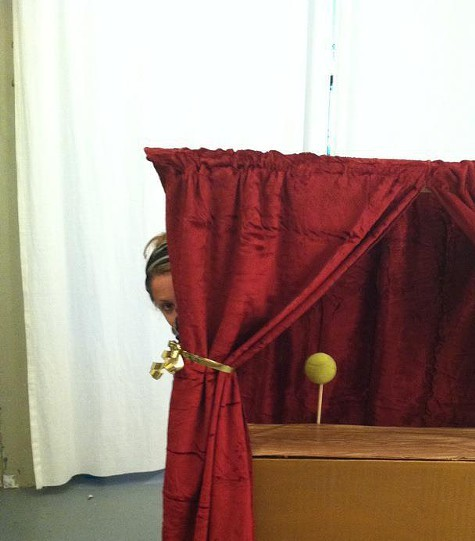 Artist Erica Gangsei plays in her Puppet Laboratory