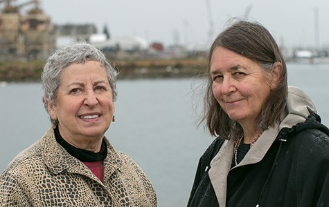 Waterfront activists Sandra Threlfall and Naomi Schiff at the Brooklyn Basin site. - BERT JOHNSON / FILE PHOTO