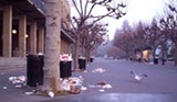 HANK CHAPOT - Because of budget cuts, the Cal campus is strewn with garbage on most mornings.
