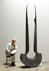 Bella Feldman and her sculpture <i>Diad</i>.