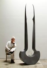 Bella Feldman and her sculpture Diad.