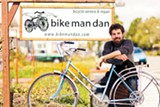 "STEPHEN LOEWINSOHN - ""Bike Man"" Dan Woloz charges for labor on a sliding scale."