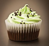 Bliss edible medical cannabis vanilla-mint chocolate cupcake.