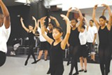Campers rehearse in ballet class.