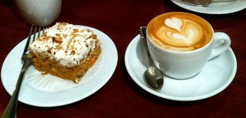 Carrot cake and cappuccino at Timeless Coffee