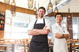 STEPHEN LOEWINSOHN - Chef Sean Baker and line cook Young M Tran at Gather Restaurant in Berkeley.