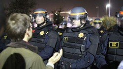 CHP at Monday night's protest. - JOAQUIN PALOMINO
