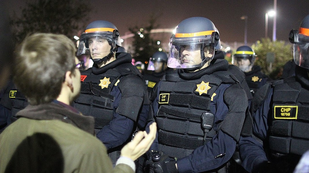 CHP at Monday night's protest. - JOAQUIN PALOMINO