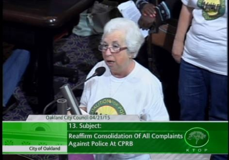 Rashidah Grinage of the Coalition for Police Accountability speaking to the Oakland City Council on April 21, 2015.