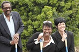 JOSEPH SCHELL - County Supervisor Nate Miley, Shanale Allen, and Susan Beck break ground at Dig Deep Farms.