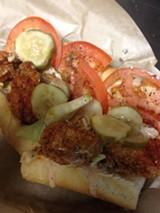 Couyon Cajun's fried Louisiana gulf shrimp po'boy.
