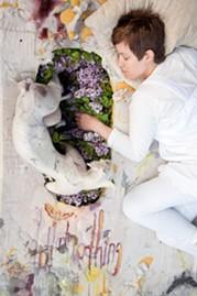 Detail from Nicole Shaffer's Where We Slept performance installation. - GINA CHOLIK