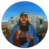 "Detail of ""Trailer Park Jesus."""