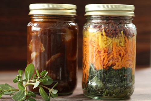 Dish components are stored in individual jars.