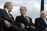 CHERIE A. THURLBY/WIKIMEDIA COMMONS - Donald Rumsfeld, George W. Bush, and Dick Cheney were key architects of the Long War.