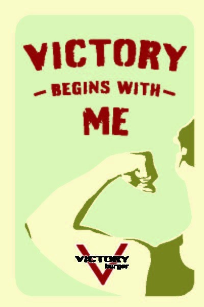 Draft of sticker design for Victory Burger, by Eva Silverman of Pushcart Design