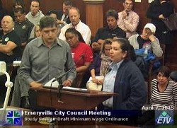 Maria Hilda Chavez, a ten year employee of the Watergate Towers office complex, speaking to the Emeryville City Council.