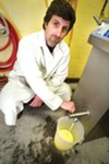 Federico Murtagh makes gelato at his West Oakland flavor lab.