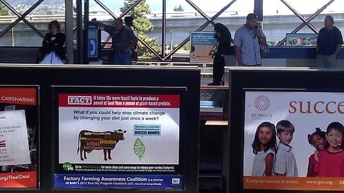 FFAC ad (left) at MacArthur BART station