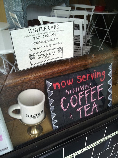 Five mornings a week, Scream Sorbet hosts a Winter Cafe.