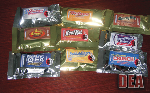 Trademark infringing cannabis edibles (above) are a warning sign of unprofessionalism. - DEA VIA NEJOM