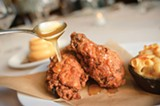 CHRIS DUFFEY - Fried chicken with honey and the mac 'n' cheese.