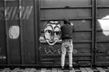 """COURTESY OF THE ARTIST - From the Barry McGee exhibit: Craig Costello's """"Roseville Trainyards."""""""
