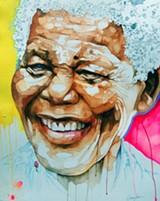 Gayles' topographical portrait of Nelson Mandela.