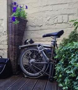 A Brompton folding bike.