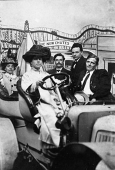 Jack London (right) and wife Charmain (driving) at Idora Park.