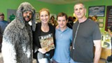 Jason Gann, Cheryl Shuman, Elijah Wood, and David Zuckerman on the set of Wilfred.