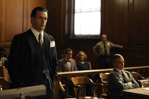 Jon Hamm in Howl as Lawrence Ferlinghetti's defense attorney Jake Ehrlich