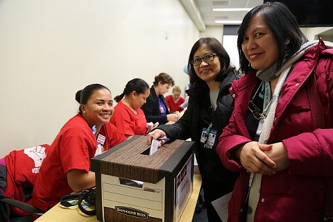 Kaiser nurses voting on the new three-year contract in Oakland. - COURTESY OF CALIFORNIA NURSES ASSOCIATION