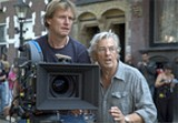 Karl Walter, director of photography, and Verhoeven on the - set.