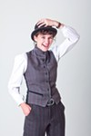 Katie Neville models clothing by B. Spoke Tailor.
