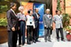Koreatown Northgate Community Benefit District board members at the recent unveiling of the neighborhood's new banners.