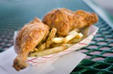 CHRIS DUFFEY - Kwik Way's fried chicken is delicious and searingly hot, with big, crunchy blisters slicked with fry oil.